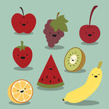 Vector fijado: fruta feliz Imagenes de archivo