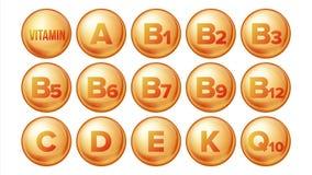 Vector fijado iconos de la vitamina Icono orgánico de la píldora del oro de la vitamina Cápsula de la medicina, sustancia de oro  ilustración del vector