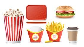 Vector fijado iconos de los alimentos de preparación rápida Patatas fritas, café, hamburguesa, cola, Tray Salver, palomitas Aisla Fotos de archivo