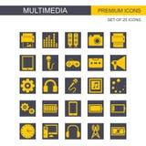 Vector fijado iconos de Mutimedia stock de ilustración