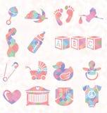 Vector fijado: Iconos del bebé del modelo del edredón Imágenes de archivo libres de regalías