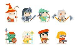 Vector fijado iconos del carácter del juego del RPG de la fantasía Imágenes de archivo libres de regalías