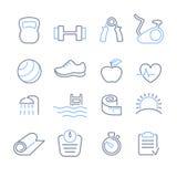 Vector fijado iconos del club de fitness Imagenes de archivo