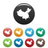Vector fijado iconos del mapa de China stock de ilustración
