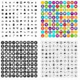 vector fijado 100 iconos que practica surf variable Imagen de archivo libre de regalías