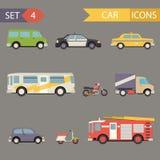 Vector fijado iconos retros del coche plano Fotografía de archivo libre de regalías