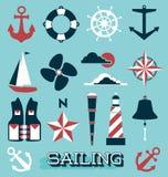 Vector fijado: Iconos y etiquetas de la navegación Foto de archivo libre de regalías