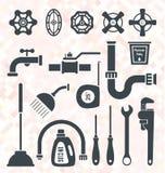 Vector fijado: Iconos y símbolos de la fontanería Fotos de archivo libres de regalías