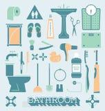 Vector fijado: Iconos y siluetas del cuarto de baño Fotos de archivo libres de regalías