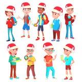 Vector fijado niños de la Navidad Muchachos y muchachas Santa Hat holiday Ejemplo aislado de la historieta stock de ilustración