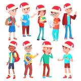 Vector fijado niños de la Navidad Santa Hat Muchachos y muchachas diciembre Ejemplo aislado de la historieta stock de ilustración