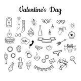 Vector fijado para el día de tarjeta del día de San Valentín Estilo a mano Dulce, flores, bebidas, guirnalda, ropa interior, anil ilustración del vector
