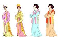 Vector fijado para las mujeres chinas Stock de ilustración