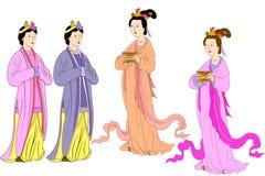 Vector fijado para las mujeres chinas Libre Illustration