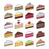 Vector fijado rebanadas coloridas de las tortas del dulce Imagen de archivo libre de regalías
