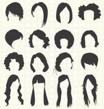 Vector fijado: Siluetas del peinado de las mujeres Fotos de archivo