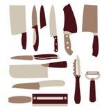 Vector fijado: Utensilios de la cocina fijados Imagenes de archivo
