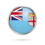 Vector Fiji Islands flag in glass button style. Fiji Islands flag glass button style with metal frame Stock Images