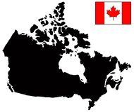 Canada map and flag - country in North America. Vector file of Canada map and flag - country in North America Stock Images