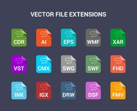 Vector file extensions. Flat colored vector icons. Flat colored vector icons set Stock Images