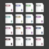 Vector file extensions icons set. Pdf, mp3, txt and other buttons Stock Photos