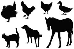 Farm animals silhouette - domesticated animals. Vector file of farm animals silhouette - domesticated animals royalty free illustration