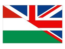 Great Britain and Hungary flags. Vector file of Great Britain and Hungary flags royalty free illustration