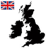 Great Britain map and flag - large island in the north Atlantic Ocean. Vector file of Great Britain map and flag - large island in the north Atlantic Ocean Stock Photos