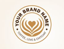 Logo Design for Coffee Shop, Restaurant. This a a vector file, Logo Design for Coffee Shop, Coffee Restaurant, Add catchy tag line. Love & Chitchat Logo Stock Photography
