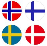 Scandinavian flags - countries in Northern Europe. Vector file of Scandinavian flags - countries in Northern Europe royalty free illustration