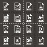 Vector File type icon set. On black background Royalty Free Stock Photos