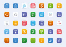 Vector file types icon set. Set of the vector icons representing different file formats Royalty Free Stock Photo