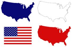 USA map and flag - federal republic in North America. Vector file of USA map and flag - federal republic in North America Royalty Free Stock Images