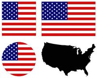 USA map and flag - federal republic in North America. Vector file of USA map and flag - federal republic in North America Stock Photography