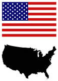USA map and flag - federal republic in North America. Vector file of USA map and flag - federal republic in North America Royalty Free Stock Photo