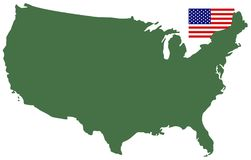 USA map and flag - federal republic in North America. Vector file of USA map and flag - federal republic in North America Stock Image