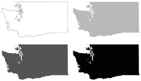 Washington State map - state in the Pacific Northwest region of the United States. Vector file of Washington State map - state in the Pacific Northwest region of Royalty Free Stock Photos