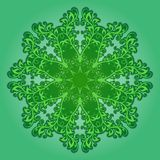 Vector filigree pattern on green. Filigree pattern with elements of branches and leaves Stock Images