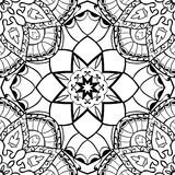 Vector filigree pattern. Oriental seamless pattern of mandalas. Vector black and white background. Template for textile, carpet, wallpaper, shawls Stock Images