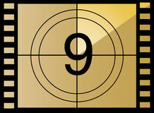 Vector film countdown. Number 9. Film countdown in yellow color beauty style Stock Photos
