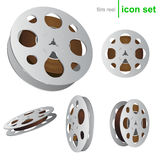 Vector film reel icons. Realistic film reel icons for web or software design Stock Photos