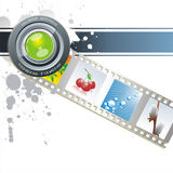 Vector film strip background collection. Segment film rolled down on a white background Royalty Free Stock Photo