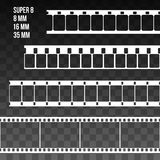 Vector Film Strip Set Illustration on black transparent. Background. Abstract Film Strip Super 8 16 35mm design template. Film Strip Seamless Pattern Stock Photo
