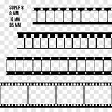 Vector Film Strip Set Illustration on transparent Stock Image