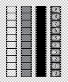 Vector  film strips on transparent background. Film strips on transparent background. Vector illustration Royalty Free Stock Image