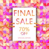 Vector final sale poster. Cute discount card. Seasonal sales ban. Ner design. Sell-out, clearance, closeout. Advertising template. Colorful promo illustration Royalty Free Stock Images