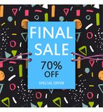 Vector final sale poster. Cute discount card. Seasonal sales ban. Ner design. Sell-out, clearance, closeout. Advertising template. Colorful promo illustration Stock Photos