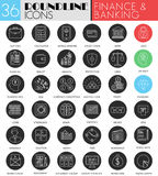 Vector finance banking circle white black icon set. Modern line black icon design for web. Vector finance banking circle white black icon set. Modern line black Stock Image