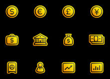 Vector Finance, Banking Icon Set. Original vector icons for web, software etc. on black background Royalty Free Stock Photo