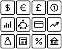 Vector Finance, Banking Icon Set. Original vector icons for web, software etc. on white background Royalty Free Stock Image